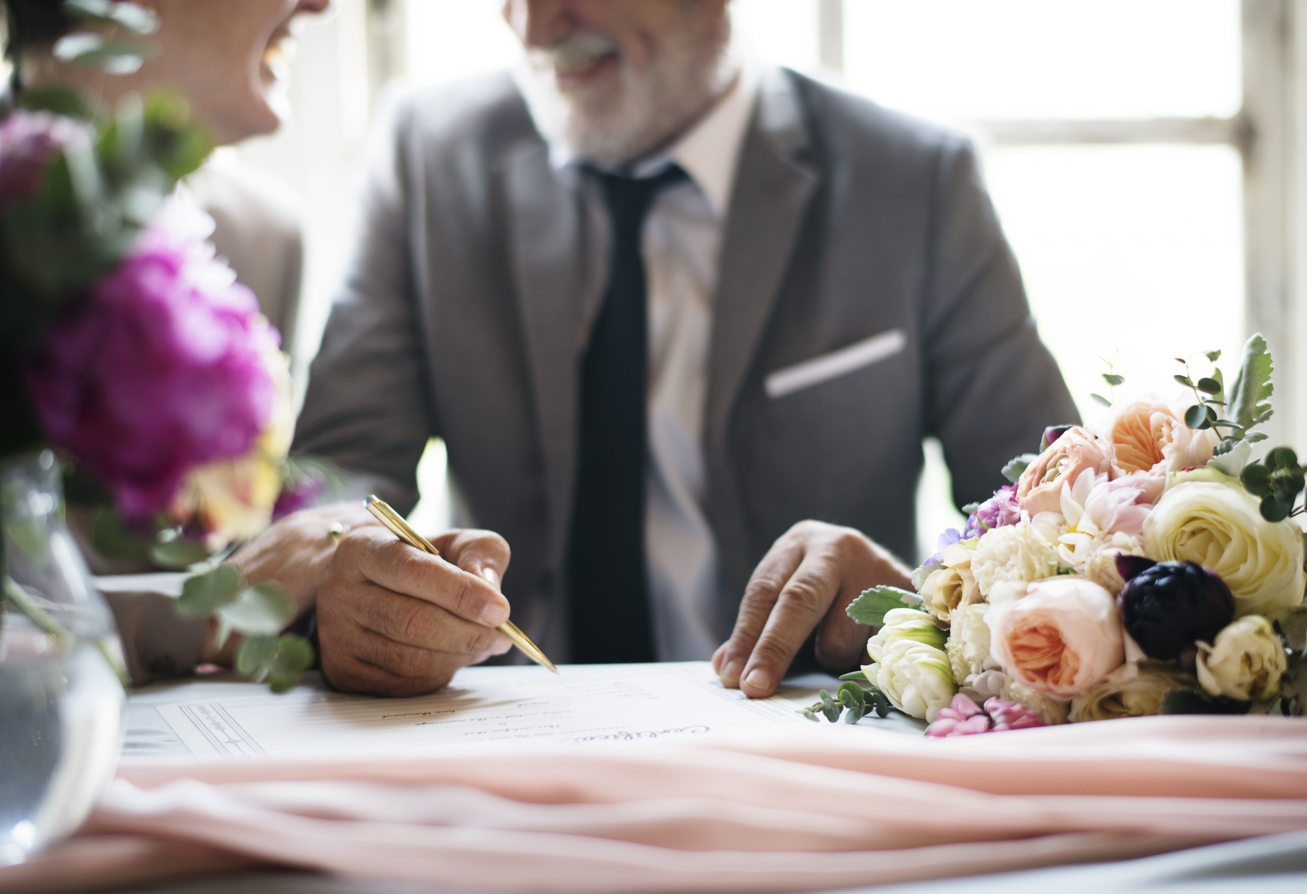 Hand Signing Marriage License Wedding Ceremony